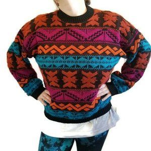 Vintage Aztec Tribal Sweater Chunky Knit